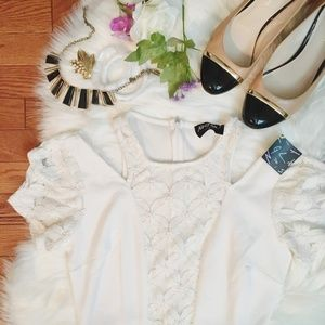 NWT Nasty Gal Short Sleeve Cut Open Lace Dress M